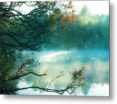 Dreamy Nature Aqua Teal Fog Pond Landscape - Aqua Turquoise Fall Autumn Nature Decor  Metal Print