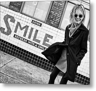 Drink Smile Metal Print