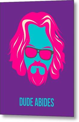 Dude Abides Purple Poster Metal Print by Naxart Studio