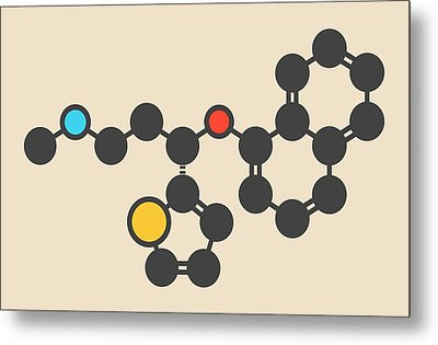 Duloxetine Antidepressant Drug Molecule Metal Print by Molekuul