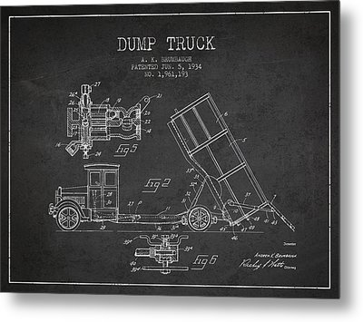 Dump Truck Patent Drawing From 1934 Metal Print