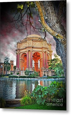 Dusk At The Palace Of Fine Arts In The Marina District Of San Francisco II Altered Version Metal Print