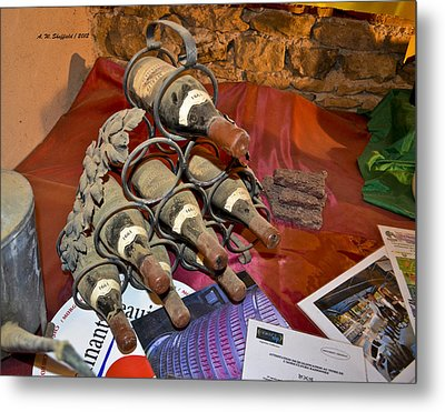 Dust Covered Wine Bottles Metal Print by Allen Sheffield