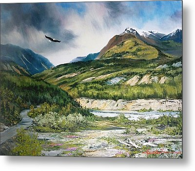 Eagle In Stormy Sky Metal Print by Gracia  Molloy