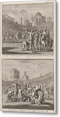 Early Christian Martyrs In A Roman Arena And Early Metal Print by Jan Luyken And Jacobus Van Hardenberg And Barent Visscher