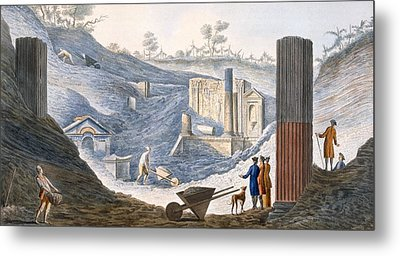 Early Excavations At Herculaneum Metal Print by Pietro Fabris