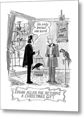 Edgar Allan Poe Returns A Christmas Gift Metal Print by Edward Frascino