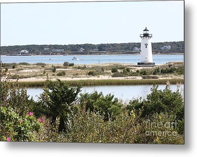 Edgartown Lighthouse With Wildflowers Metal Print by Carol Groenen