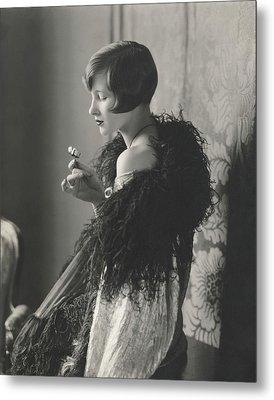 Edythe Baker Wearing A Black Shawl Metal Print