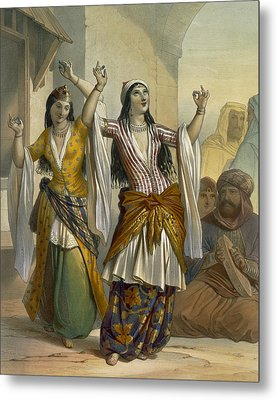 Egyptian Dancing Girls Performing Metal Print by Emile Prisse d'Avennes