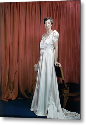 Eleanor Roosevelt In A Rosy-white Gown Metal Print