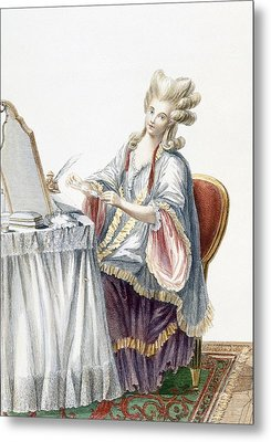 Elegant Lady At Her Dressing Table Metal Print by Pierre Thomas Le Clerc