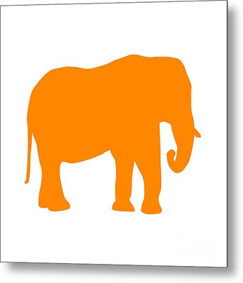 Elephant In Orange And White Metal Print