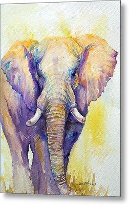Elephant In Purple Metal Print