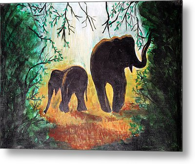 Elephants At Night Metal Print