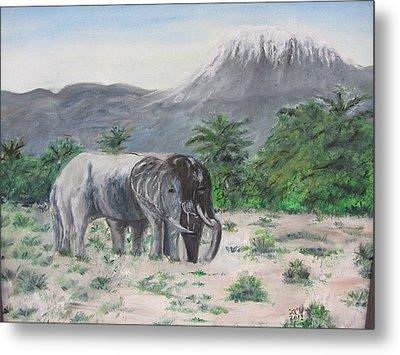 Elephants Strolling With View Of Mt. Kilimanjaro  Metal Print