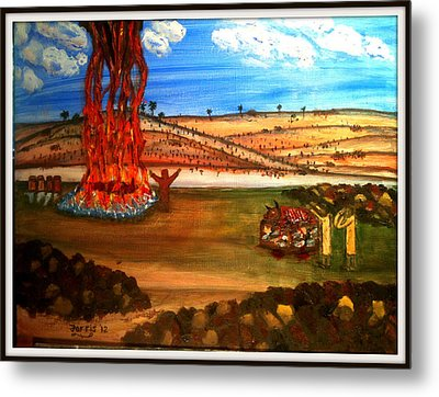 Elijah Calls Down Fire From Heaven Metal Print by Larry Farris