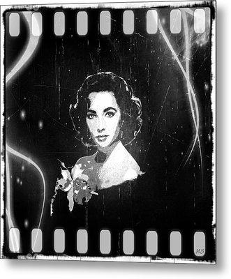 Elizabeth Taylor - Black And White Film Metal Print