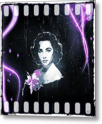 Elizabeth Taylor - Purple Film Metal Print