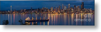Elliott Bay Seattle Skyline Night Reflections  Metal Print by Mike Reid