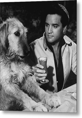 Elvis Presley Has A Milkshake With Dog Metal Print by Retro Images Archive