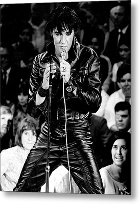 Elvis Presley In Leather Suit Metal Print by Retro Images Archive