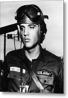 Elvis Presley In Military Uniform Metal Print by Retro Images Archive