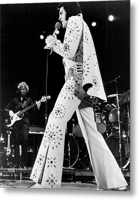 Elvis Presley In White Outfit On Stage Metal Print by Retro Images Archive