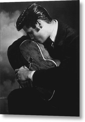 Elvis Presley Kisses Guitar Metal Print by Retro Images Archive