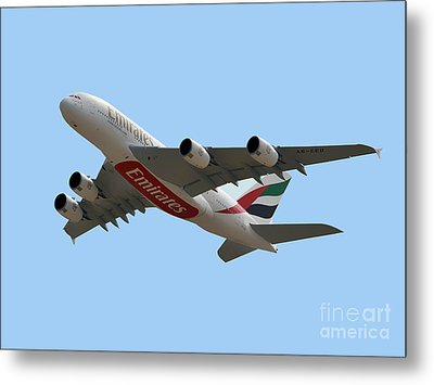 Emirates Airlines Airbus A380-861 Metal Print by Graham Taylor