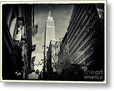 Empire State Building And Macys In New York City Metal Print by Sabine Jacobs