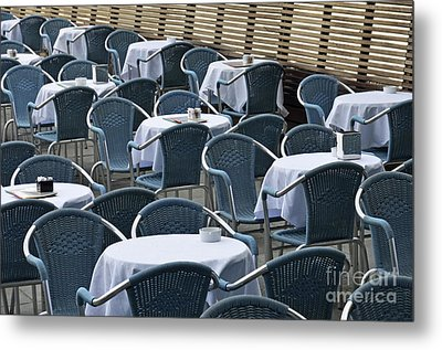 Empty Restaurant Seats And Tables Metal Print by Sami Sarkis
