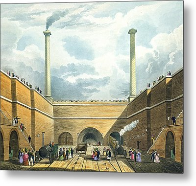 Entrance Of The Railway At Edge Hill Metal Print by Thomas Talbot Bury