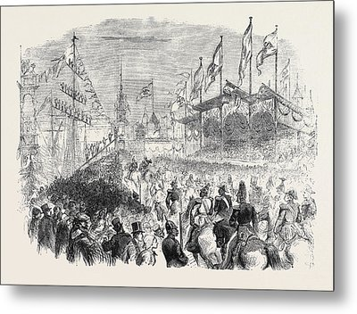 Entry Of The King Of Prussia Into Knigsberg The Procession Metal Print by English School