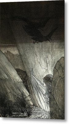 Erda Bids Thee Beware, Illustration Metal Print by Arthur Rackham