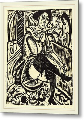 Ernst Ludwig Kirchner, Woman Tying Her Shoe Frau Metal Print by Litz Collection