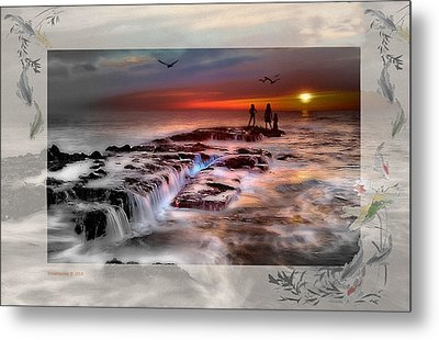 Evening Stroll At The Beach -featured In 'cards For All Occasions'comfortable Art'  'digital Veil Metal Print by EricaMaxine  Price