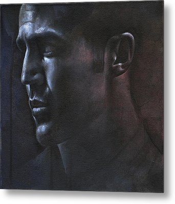 Face Study In The Dark Metal Print by Chris Lopez