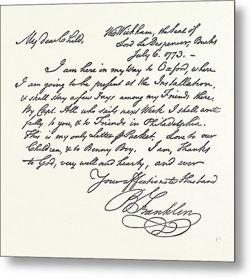 Facsimile Of A Letter From Benjamin Franklin Metal Print by English School
