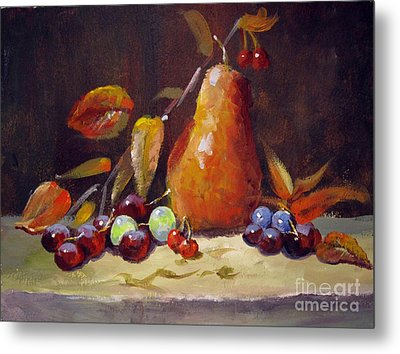 Metal Print featuring the painting Fall Pear by Carol Hart