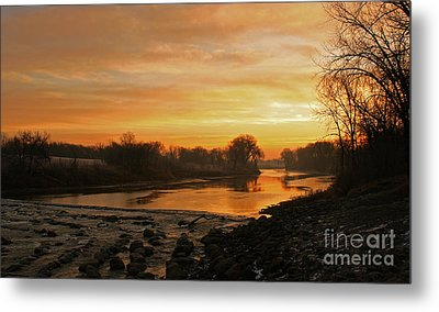 Fall Sunrise On The Red River Metal Print by Steve Augustin