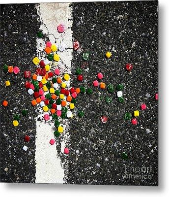 Fallen Candy On Road Metal Print