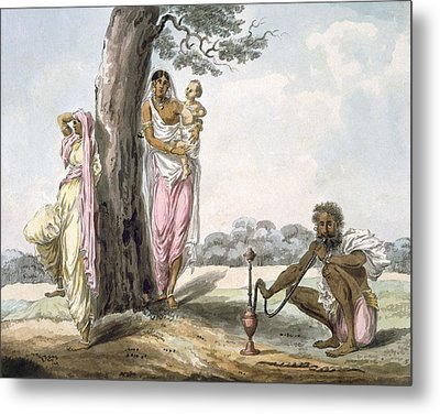 Family Man Smoking A Hookah And Girl Metal Print
