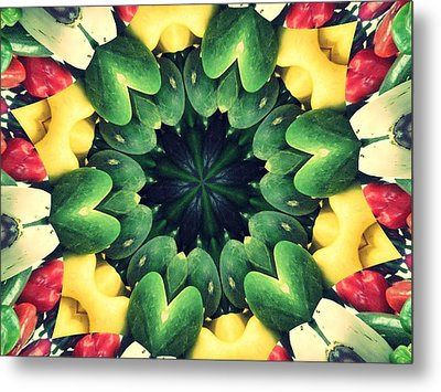 Farmer's Market Collide-a-scope Metal Print by Sue  Thomson