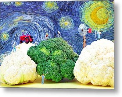 Farming On Broccoli And Cauliflower Under Starry Night Metal Print by Paul Ge