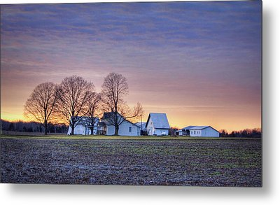 Farmstead At Sunset Metal Print
