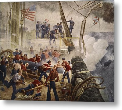 Farragut On The Hartford At Mobile Bay Metal Print