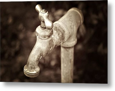 Faucet In Fall Metal Print by Cathie Tyler