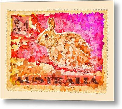 Faux Poste Bunny 3d Metal Print by Carol Leigh