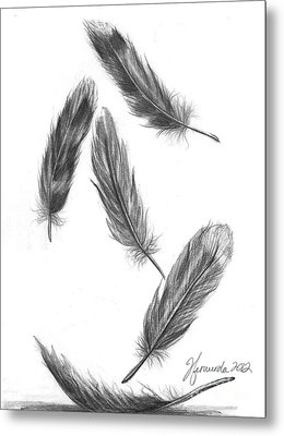 Metal Print featuring the drawing Feathers For A Friend by J Ferwerda